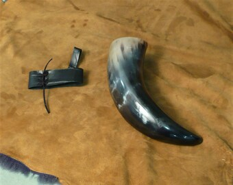 Drinking horn, curved, mostly black, holds a beer