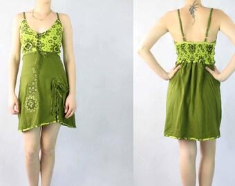 Green Geometric Print Cotton Spaghetti Strap Dress