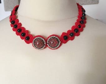 STUNNING NECKLACE MADE WITH RED COTTON CROCHET BEADS AND CABOCHONS