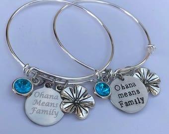 ohana bracelet with birthstone-ohana means family bracelet