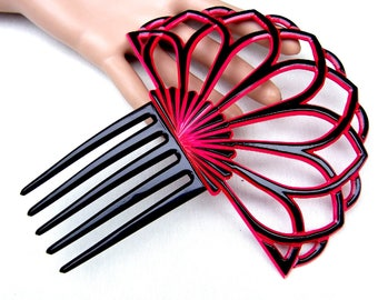 Art Deco hair comb red black Spanish style hair accessory headdress headpiece decorative comb hair ornament