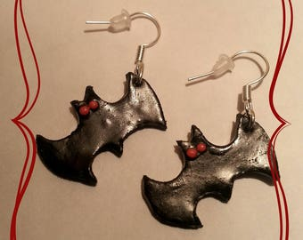"""Polymer clay earrings """"bat black mouse"""""""