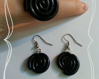 """Black licorice"" ring and Earring set"