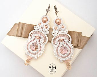 Bridal Earrings Wedding Earrings Crystal Earrings White Earrings Long Earrings Pearl Soutache Earrings Dusty Pink Earrings