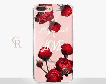 Love iPhone X Case - Clear Case - For iPhone 8 - iPhone X - iPhone 7 Plus - iPhone 6 - iPhone 6S - iPhone SE Transparent - Samsung S8 Plus