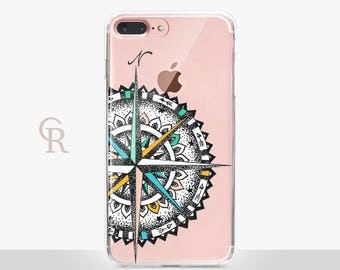 Compass Clear Phone Case For iPhone 8 iPhone 8 Plus iPhone X Phone 7 Plus iPhone 6 iPhone 6S  iPhone SE Samsung S8 iPhone 5 Transparent