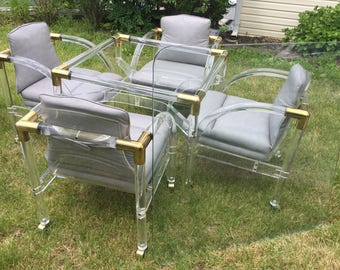 Lucite Brass Glass Mid Century Table Chair Dining Set Thick Glass Top MCM Hill Manufacturing 60's Soft Gray ~ Decades Dance