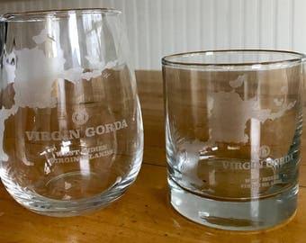 Virgin Gorda BVI Map - Rocks and Stemless Wine Glasses