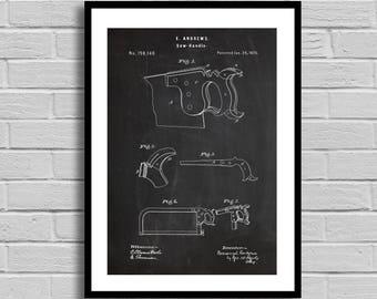 Saw Handle Patent, Saw Handle Patent Poster, Saw Handle Blueprint, Saw Handle Print, Carpenter Gift, Handyman Gift, Garage Decor, Vintage