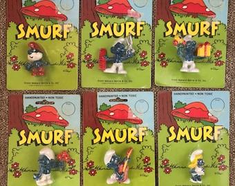 "Lot 6 Vintage NEW STOCK Smurfs figures figurines, 2"", Papa, Smurfette, Jokey, Wallace Berrie"