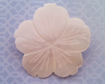 Vintage Brooch, Mother of Pearl Carved Flower Brooch, MOP Pin, Five Petal Flower, Circa 1970s, Includes Gift Box