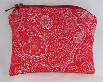 Small Red and Pink Brocade and Satin Coinpurse Coin Purse Pendulum Crystals Zipper Bag Pouch Fancy