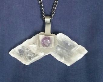 SELENITE Crystal Amethyst Necklace // Bohemian Jewelry // Tribal Pendant // Healing Meditation Stone // Raw White Selenite // Gift for Her