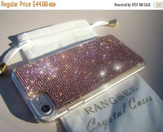 """Sale iPhone 7 Case Purple Amethyst Crystals on iPhone 7 Transparent Clear Case. """" Gold Edition"""" for Jet Black, Genuine Rangsee Crystal Cases"""