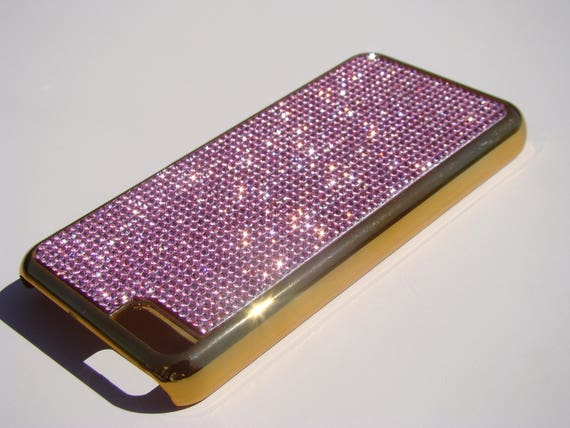 iPhone 5C Pink Diamond Rhinestone Crystals on Gold-Bronze Case. Velvet/Silk Pouch Bag Included, Genuine Rangsee Crystal Cases.