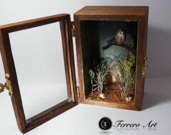 DIORAMA BOX MINIATURE art, landscape, diorama, animals, pebble art, landscaping art, gift, wedding, decoration