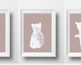 Three cats - taupe and white art