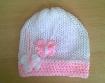 bonnet naissance fille b b 0 3 mois layette rose tricot noeud. Black Bedroom Furniture Sets. Home Design Ideas