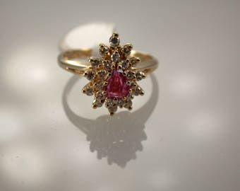 14K Yellow Gold Ruby & Diamond Ring, Ruby Halo Ring, Ruby Engagement Ring, July Birthstone