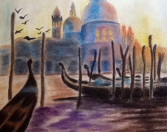Venice - the grand canal - PASTEL 30 x 30 cm