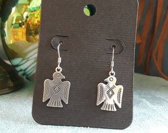 Sterling silver native American eagle earrings