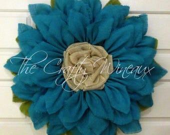 "Extra Large Burlap Sunflower Wreath, 30"" Turquoise Sunflower, Spring Wreath, Summer Wreath, Customizable Wreath, Trendy Sunflower Wreath"
