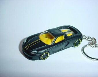 3D Porsche Carrera GT custom keychain keyring key chain by Brian Thornton finished in black/yellow racing trim
