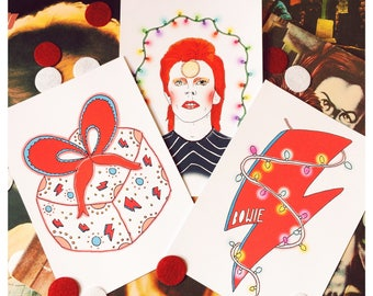 David Bowie Inspired Christmas 5 X 7 Print Set