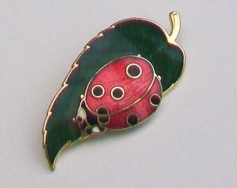 FISH Cloisonne Guilloche Enamel Ladybird Bug on a Leaf Brooch