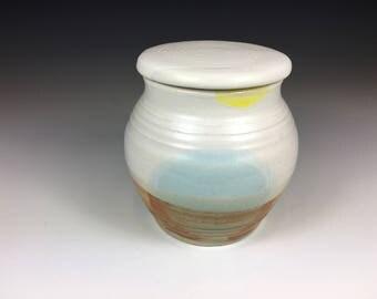 Pottery Tea Mug with Lid, No Handle, Round, White, Robin's Egg Blue, Tan, and Yellow