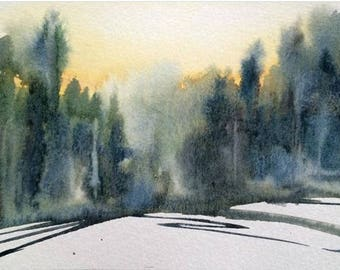 Pine forest, pine trees, forest painting, Misty pines, Misty landscape, landscape painting, landscape watercolor, Pines, tree painting