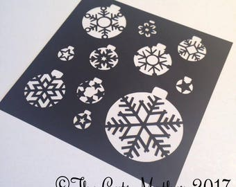 Snowflake baubles Christmas card Paper Cutting Template - Commercial Use