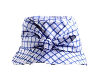 Gingham Cotton Bucket Hat with Bow: 'Shelley'