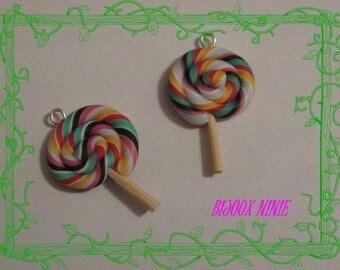 2 charms gourmet lollipop rolled lolipop multi Fimo