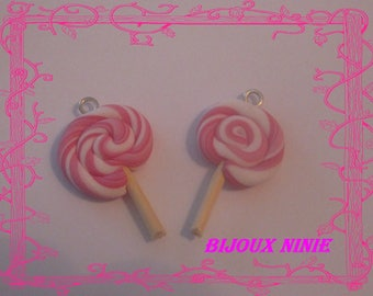 2 rolled pink and black polymer clay lollipop charm
