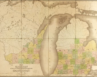 Poster, Many Sizes Available; Map Of Michigan And Part Of Wisconsin Territory 1839
