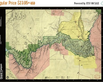 40% OFF SALE Poster, Many Sizes Available; Map Of Grand Canyon National Park Arizona 1991 P2