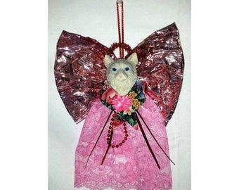 Vintage Pink Kitty Ornament,Angel Kitty Ornament,Kitschy Christmas, Pink Christmas, Pink Ornament,Cat Ornament,Guardian Cat Angel, Angel Cat
