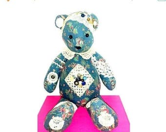 Vintage Shabby Chic Hand Crafted Teddy Bear, Cloth Teddy Bear, Rag Doll Bear, Crochet, Buttons, Doilies, Lace,Handmade Teddy Bear,Victorian