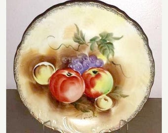 Vintage Hand Painted Fruits Plate,Artist Signed,Collectible Plate,Fruit,Gold Gilt,Vintage Painted Plate,Apples, Grapes,Ready to Hang,Kitchen