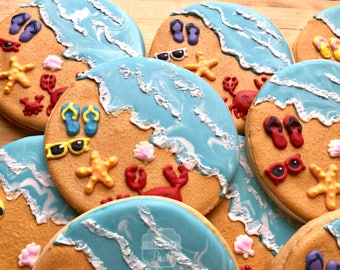 A Day at the Beach Decorated Sugar Cookies