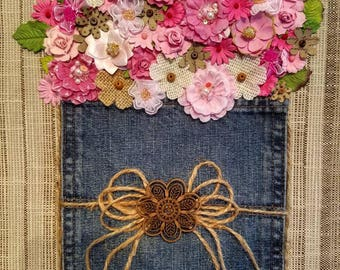 Pocket Flowers - framed mixed media