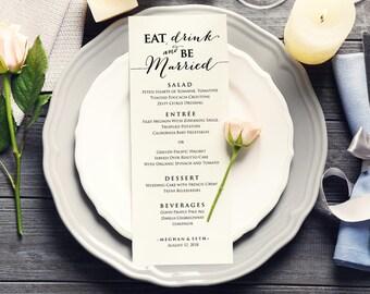 Eat Drink & Be Married Menu Templates, Editable Wedding Menu, DIY Bride Wedding, Printable Wedding Menu Template, DIY Bride