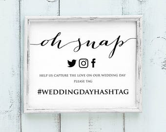 Oh Snap Wedding Hashtag Sign, DIY Hashtag Sign Printable, Social Media Hashtag Sign, Facebook Instagram Printable Hashtag Template