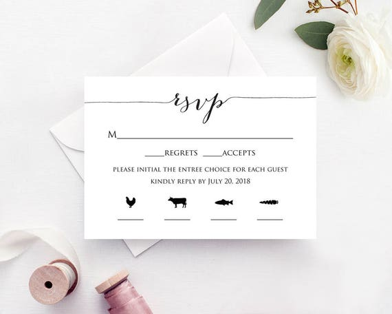 rsvp card with meal icons templates four meal combinations