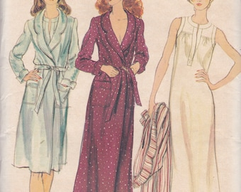 Vogue 9027 Vintage Pattern Womens Robe in 2 Lengths and Nightgown Size 12 UNCUT