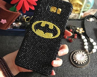 New Charm Gemstones Bling Superman Batman Sparkly Black Gems Crystals Rhinestones Diamonds Fashion Lovely Hard Cover Case for Mobile Phones