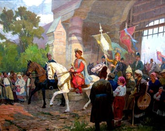 Cossacks on horses, national costumes,Ukrainian warriors,oil painting original,Soviet artist,Yablonovsky P. 148-195 60-th year 3.5