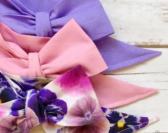 Gorgeous Wrap Trio (3 Gorgeous Wraps)- Lilac, Ballet Pink & Parisian Plum Floral Gorgeous Wraps; headwraps; fabric head wraps; bows