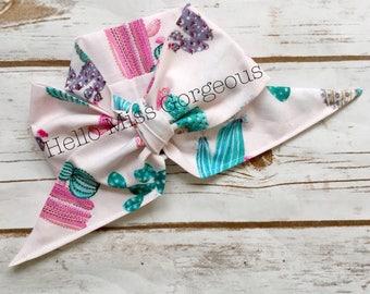 SOUTHWEST CACTUS Gorgeous Wrap- headwrap; fabric head wrap; cactus head wrap; boho; newborn headband; baby headband; toddler bow